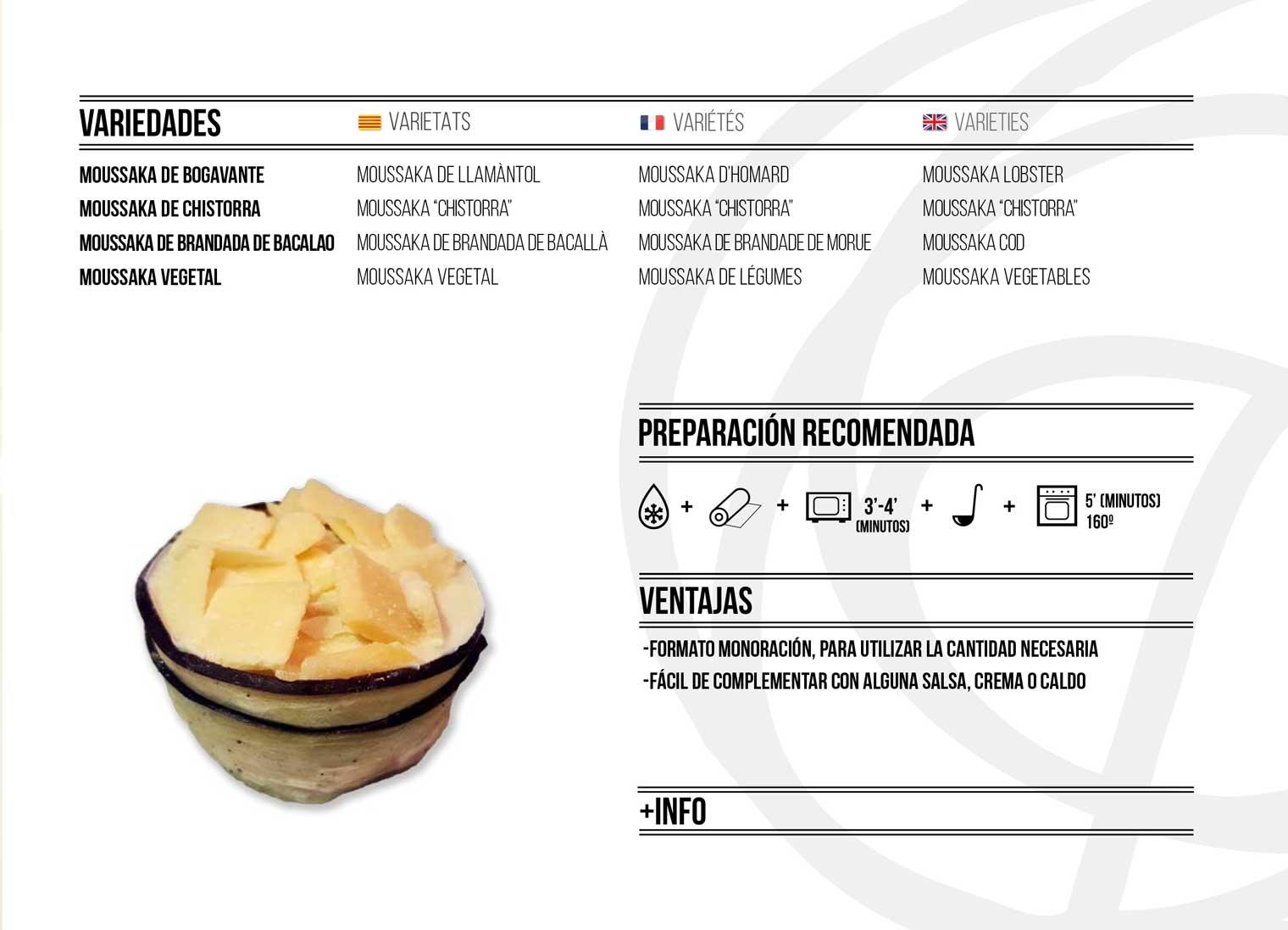 Moussaka descripció catálogo